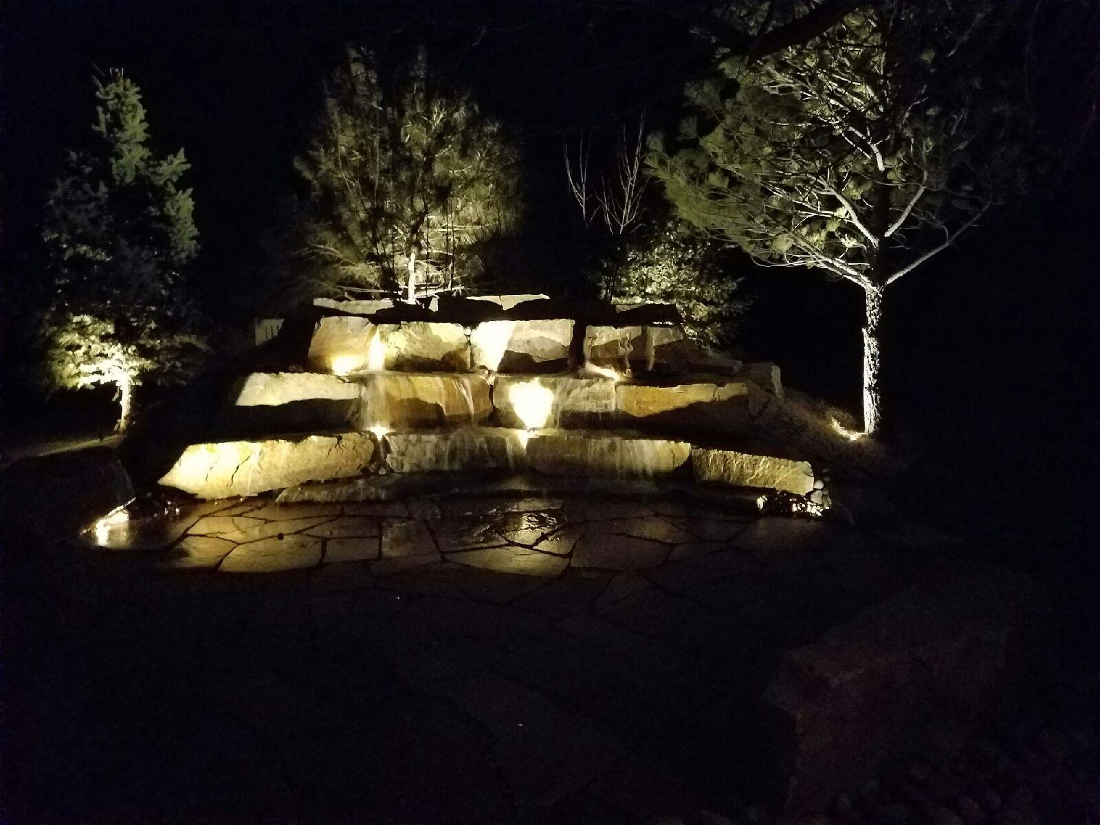 lighted rocks